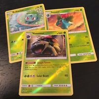 POKEMON - VENUSAUR IVYSAUR BULBASAUR - 3 CARD SET - REVERSE HOLO - NM
