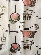 Vintage Farmhouse Pink Brown Placemats Table Linen Cloth 1950s Set of 2