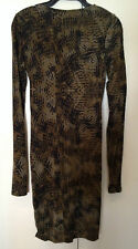 COUNTRY ROAD Olive & Black Camouflage Long Sleeve Stretch Bodycon Dress XXS