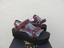 TEVA FLATFORM UNIVERSAL EVERGLADE LEATHER PLATFORM SANDALS, US 9/ EUR 40 ~NIB