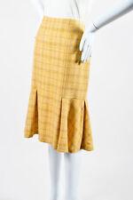 Carolina Herrera Yellow Alpaca Wool Tweed Plaid Fluted Skirt SZ 4