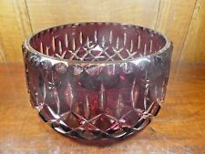 Antique RUBY crystal CUT TO CLEAR large deep BOWL - 20cms