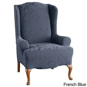 sure fit Stretch Jacquard Damask One Piece Wing Chair Slipcover french blue