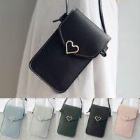 Leather Cross-body Heart Phone Shoulder Bag Pouch Case Belt Handbag Purse Wallet