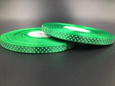 """10Yards 3/8"""" 10mm  Polka Dot Ribbon Satin Craft Supplies crafts green"""