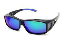 Brand New Fit Over Polarized Mens UV 400 Black Frame Blue Lens Sunglasses