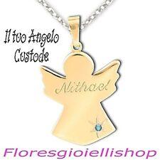 Collana Angelo Custode ciondolo angioletto argento dorato giallo topazio azzurro