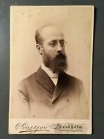 Antique 1800s Cabinet Card Photo Distinguished Swedish Gentleman Stockholm ID'd