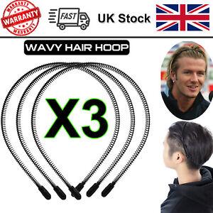 Black Metal Sports Hairband Headband Wave Style Hair band Unisex Men Women x3