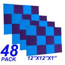 48Pack1x12x12 Blue purple Acoustic Panels Studio Soundproofing Foam Wedge tiles