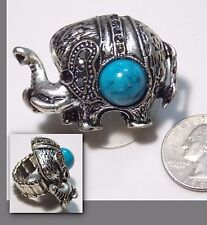 Huge Lucky Elephant Ring, Marcasites, Faux Turquoise & Black RS, Stretch Band, 8