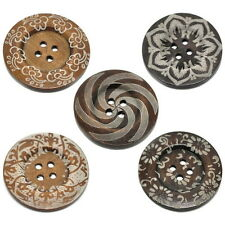 Extra Large Ethnic Pattern Wooden Button Bohemian Tribal Brown Wood 60mm 10pcs A