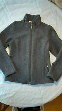 Ibex, grey wool zip jacket with removable belt.