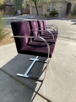 Set of 4 Vintage Knoll 1976 Mies van der Rohe Brno Chairs Flat Bar Stainless