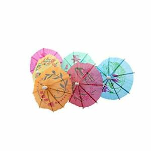 TRIXES 24PC Colorful Paper Cocktail Party Umbrellas in Assorted Colors