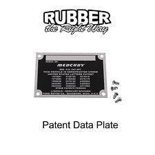 1949 1950 Mercury Patent Data Plate