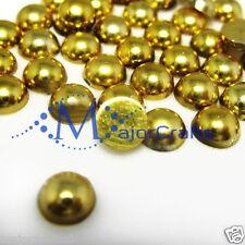 1800pcs Metallic Gold 1.5mm Flat Back Half Round Resin Pearls Nail Art Gems C36
