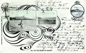 "1906 WAIKIKI HI - ""On the Beach"" - tinted early multi-view pre-Statehood"