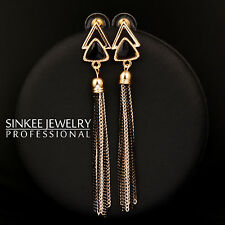 2017 Trendy Black Triangle 85MM Long Tassel Dangle Earrings For Women Girl ES574