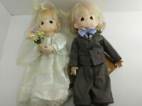 "RARE 16"" PRECIOUS MOMENTS WEDDING - Bride and Groom Gray Suit w/ Tags 1992 (2C3)"