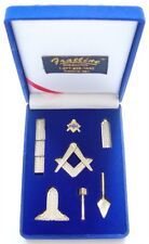 Masonic Mini Working Tool Gift Set with Lapel Pin (Antique Gold Finish)