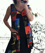 ZARA patchwork SHIFT trapeze mini DRESS S 8 10  POCKETS shift multicolour black
