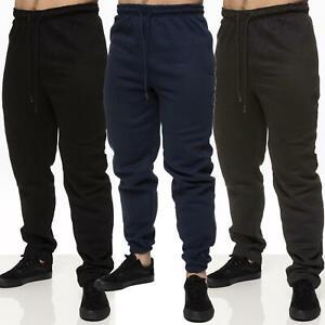 Mens Fleece Joggers Big Size Cuffed Pants Zip Pockets Track Bottoms Trousers
