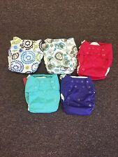 5 Blueberry Simplex One Size Cloth Diapers With Inserts Maui Paisley Grape New