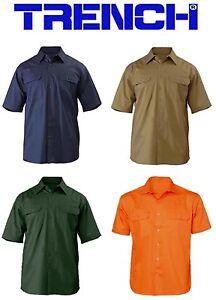 Cotton Drill Work Shirt - Short Sleeve - Navy-Khaki-Green-Orange