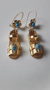 Traditional Oaxacan Gold Wash Huarache Earrings