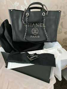 CHANEL silver stud caviar leather Deauville Shopping Tote - Black