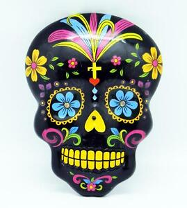 Vividly Colorful Black Day of the Dead Wall Plaque, Mask!