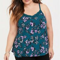 Torrid 4X 5X Cami Tank Top Teal Floral Lace Trim Swing Plus Size Shirt V-Neck