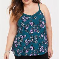 Torrid 4X 5X Cami Tank Top Teal Floral Lace Trim Swing Plus Size Shirt V-Neck