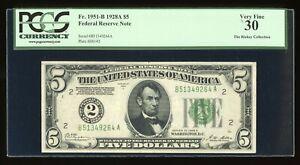 DBR 1928-A $5 FRN New York Numeral Fr. 1951-B PCGS 30 Serial B51349264A