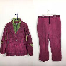 Women's XL Lavon by Cheerful Pink Green Denim 1/2 Zip Windbreaker Track Suit