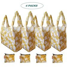 Cute X-Large Reusable Foldable Grocery Shopping Bags Zippered Pouch (Pack of 4)
