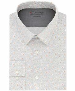 Calvin Klein Men Dress Shirt Classic Light Gray Size 15 1/2 Extreme Fit $79- 453