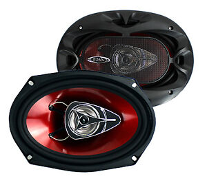 """BOSS Chaos CH6920 6x9"""" 2-Way 350W Car Coaxial Audio Speakers Stereo Red"""