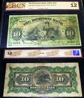1925 THE DOMINION BANK ,$10 . BRITANNIA AND LION