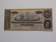 Civil War Confederate 1864 20 Dollar Bill Richmond Virginia Paper Money Currency