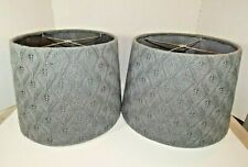 "Pair of Knit/Crochet Drum Lamp Light Shades Gray 15"" x 10"" Handmade Perfect"