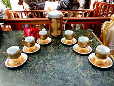 Antique VICTORIAN GERMANY Chocolate Set GILDED Pot 6 Demitasse Cups Saucers FAB!
