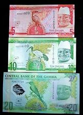 3 Gambia Baknotes-5,10,20 Dalasis-currency