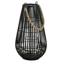 Black Rattan Dome Lantern Candle Holder with Rope Detail