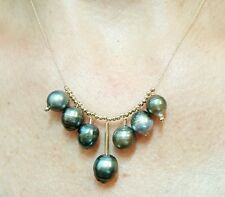 Genuine gray black Tahitian pearl solid 14k gold cluster necklace pendant