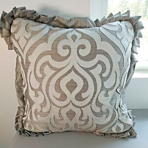 J QUEEN Throw Pillow Luxembourg Tufted D07195 Silver Gray White Single Pillow