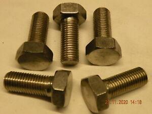 """x5 off 1/2"""" BSF Bolts x 1 1/4"""" thread Stainless steel hexagonal 1/2"""" BSF bolts"""