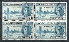 Ascension 1946  Sc# 51 George Palace Boat peace issue  block 4 MNH