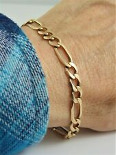 """MENS """"AURAFIN ITALY"""" SOLID 14K YELLOW GOLD FIGARO BRACELET 6MM WIDE 8 1/2"""" LONG"""